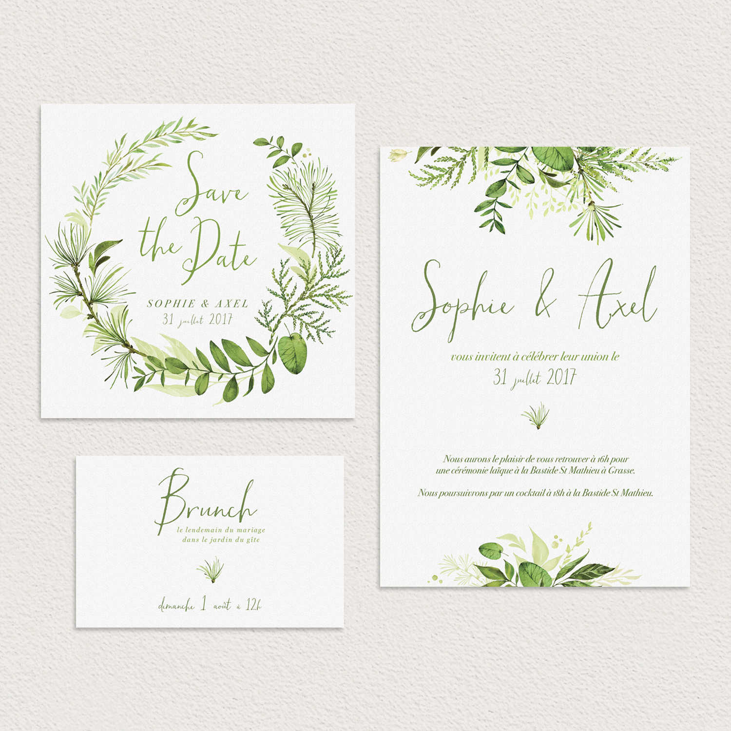 collection faire-part invitation original à personnaliser mariage alternatif evergreen
