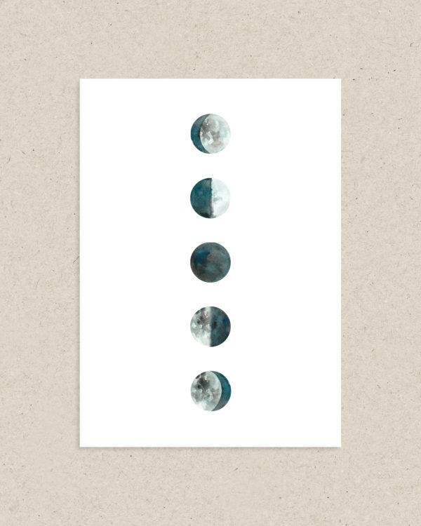 carte postale Moon phases lune déco